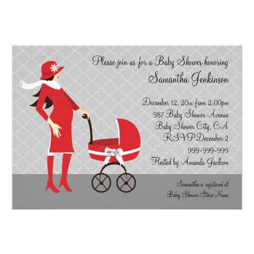 Elegant Winter Gray and Red Baby Shower Invitation