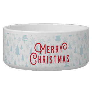 Elegant Winter landscape Christmas pet bowl