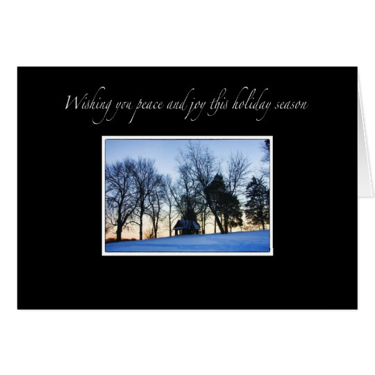 Elegant Winter Peace And Joy Christmas Card