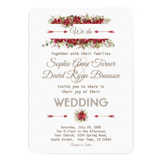 Elegant Winter Poinsettia Flowers Wedding Invite