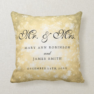 Elegant Winter Wedding Mr & Mrs Favor Gold Throw Pillow