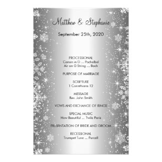 "elegant winter Wedding Program Flyer 5.5"" x 8.5"""