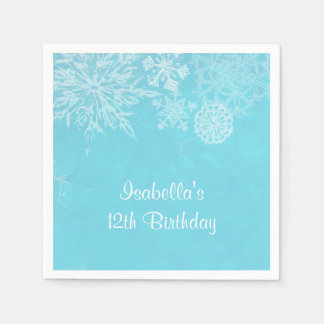 Elegant Winter Wonderland Snowflake Birthday Party Paper Napkin