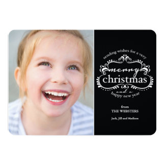 Elegant Wishes for a Merry Christmas PhotoGreeting Card