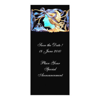 "ELEGANT WOMAN BEAUTY JEWEL /LADY,BLUE BOW,FLOWERS 4"" X 9.25"" INVITATION CARD"