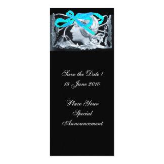 "ELEGANT WOMAN BEAUTY JEWEL /LADY,BLUE BOW,FLOWERS 4"" X 9.25"" INVITATION CARD"