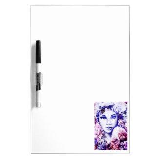 Elegant woman floral watercolor chalk illustration Dry-Erase boards