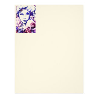 Elegant woman floral watercolor chalk illustration letterhead