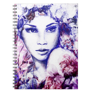 Elegant woman floral watercolor chalk illustration notebooks