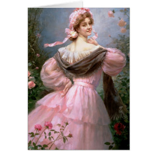 Elegant woman in a rose garden card