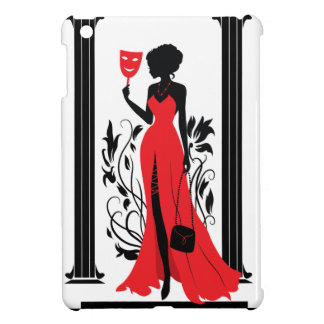 Elegant woman silhouette in red dress with mask case for the iPad mini
