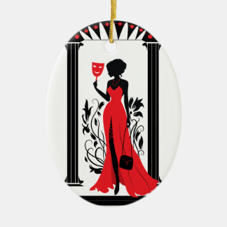 Elegant woman silhouette in red dress with mask ceramic oval ornament