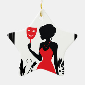Elegant woman silhouette in red dress with mask ceramic star ornament