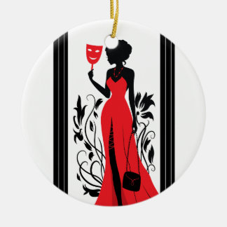 Elegant woman silhouette in red dress with mask round ceramic ornament