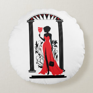 Elegant woman silhouette in red dress with mask round pillow