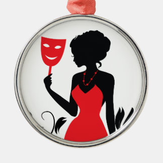 Elegant woman silhouette in red dress with mask Silver-Colored round ornament