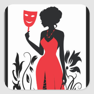 Elegant woman silhouette in red dress with mask square sticker