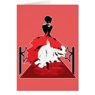 Elegant woman silhouette on red carpet with stars card