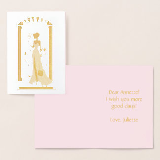 Elegant woman stylish fashion silhouette foil card