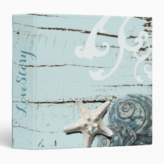 Elegant wood BLue Seashells Beach Wedding 3 Ring Binder