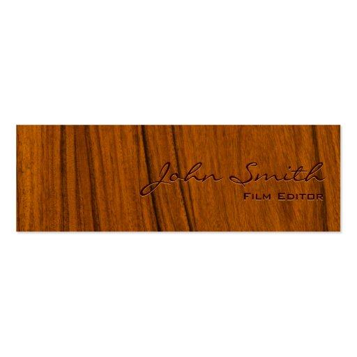 Elegant Wood Grain Film Editor Business Card