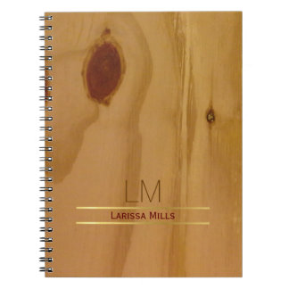 elegant wood texture, rustic & personalized notebook
