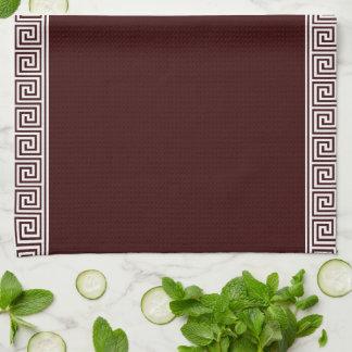 Elegant Wreath Monogram Greek key Pattern Hand Towels