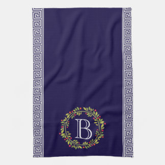Elegant Wreath Monogram Greek key Pattern Kitchen Towel