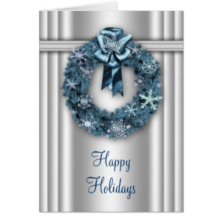 Elegant Wreath Silver and Blue Corporate Christmas Card