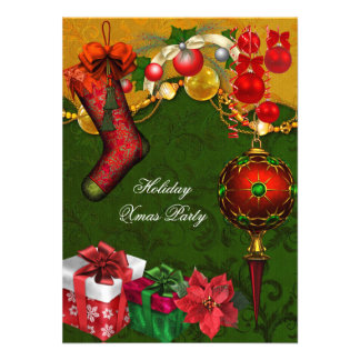 Elegant Xmas Holiday Party Green Gold Gifts Balls Personalized Invites