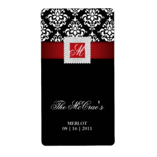 Elegant Xmas Wedding Wine Label Jewels Red Black Shipping Label