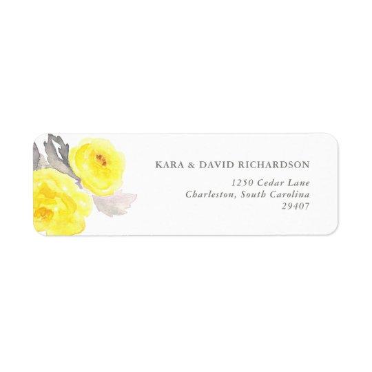 Elegant Yellow and Grey Watercolor Roses Return Address Label