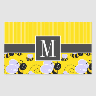 Elegant Yellow & Black Bee Sticker