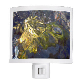 Elegant Yellow Blue Watery Abstract Photograph Night Lights