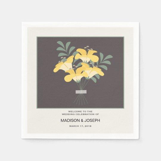 Elegant yellow flowers wedding paper napkin