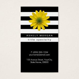 Elegant Yellow Gerbera Daisy - Black White Stripes Business Card