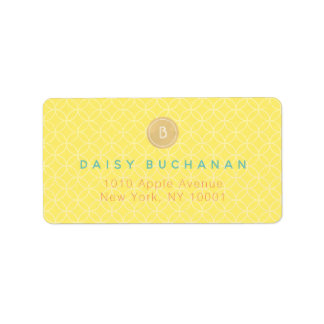 Elegant Yellow Gold Monogram Address Label