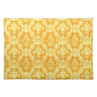 elegant yellow golden damask graphic pattern. place mat