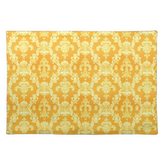 elegant yellow golden damask graphic pattern. placemat