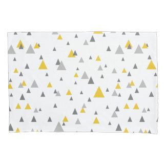 Elegant Yellow & Gray Triangles Modern Pattern Pillowcase