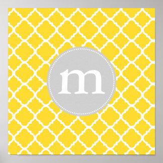 Elegant Yellow Moroccan Quatrefoil Personalized Poster
