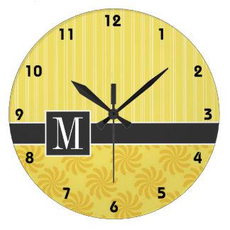 Elegant Yellow Orange Swirl Large Clock