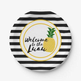 Elegant Yellow Pineapple Luau Paper Plate