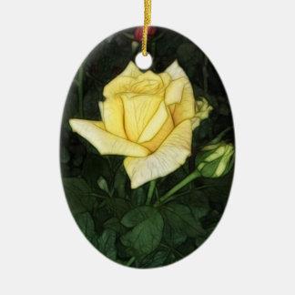 Elegant Yellow Rose 1 Ceramic Ornament