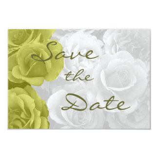 """elegant yellow roses """"on b/w bouquet"""" save the dat 3.5"""" x 5"""" invitation card"""