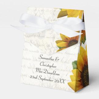 Elegant yellow sunflower country floral wedding wedding favor box