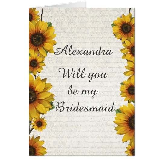 Elegant yellow sunflower will you be my bridesmaid card