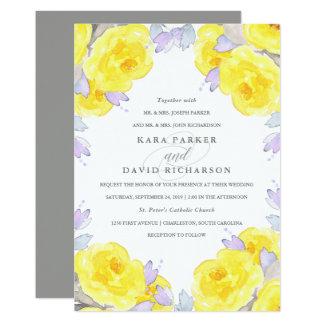 Elegant Yellow Watercolor Roses   Wedding Card