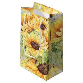 Elegant Yellow Watercolor Sunflowers Greenery Small Gift Bag
