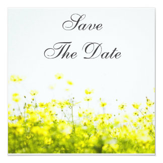 "Elegant Yellow Wildflowers Save The Date 5.25"" Square Invitation Card"